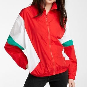 Retro color block red, white & green jacket NWT